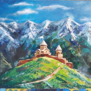kazbegi oil painting by Mariiam Kotrikodze