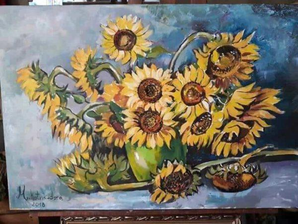sunflowers oil painting by Mari Kotrikadze