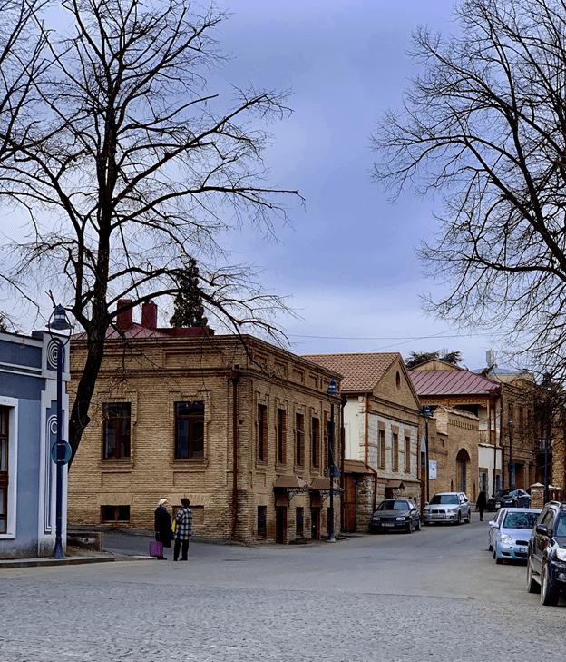 Renovated buildings in central Telavi