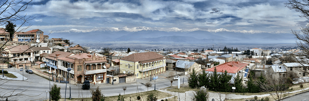 View of the Alazani Valley and the Greater Caucasus Mountains from central Telavi.